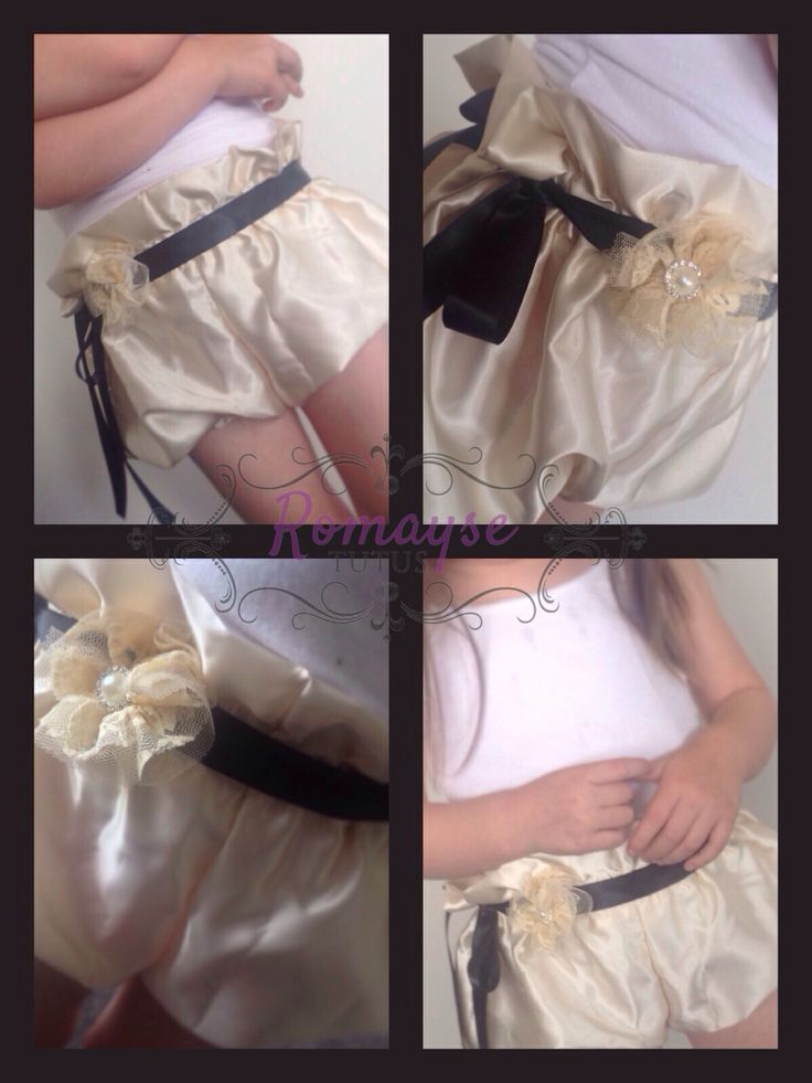 New ivory satin bloomers with matching ribbon belt and head wrap
