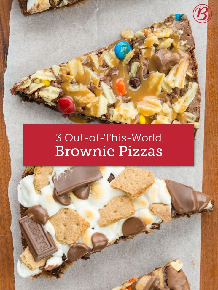 """From a toasted s'mores delight to a salty-sweet """"trash"""" pizza that's downright naughty to one created just for peanut-butter lovers, these party-ready pizzas are super easy to throw together, requiring little more than a box of Betty Crocker fudge brownie mix, a few pantry staples and about 10 to 20 minutes of hands-on time, max."""