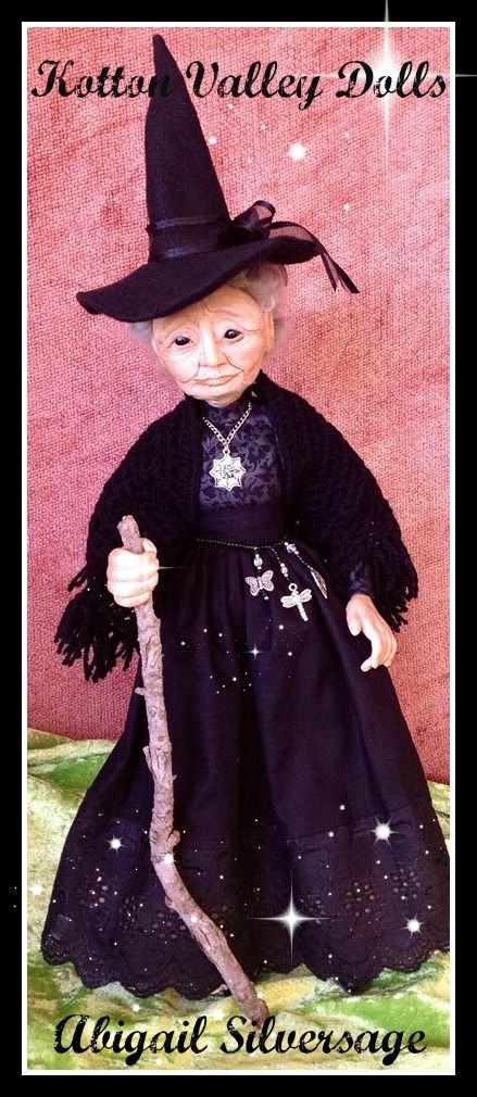 SOLD  OOAK hand sculpted polymer clay witch doll. by Kaye Schlenert. SOLD www.facebook.com/Raggedydreaming?ref=hl