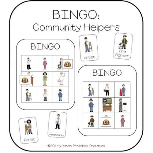 community helpers | Community Helpers Picture Bingo allows the kids to learn their community helpers with a fun engaging game.