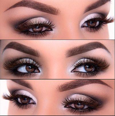 Maquillage chic et élégant pour filles brunes aux yeux foncés.
