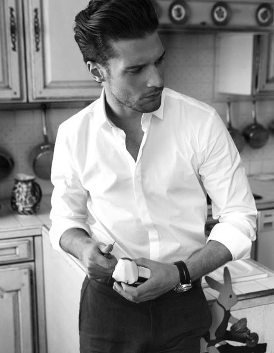 Crisp white button-up and black trousers. Classic. I love a white shirt on a man...