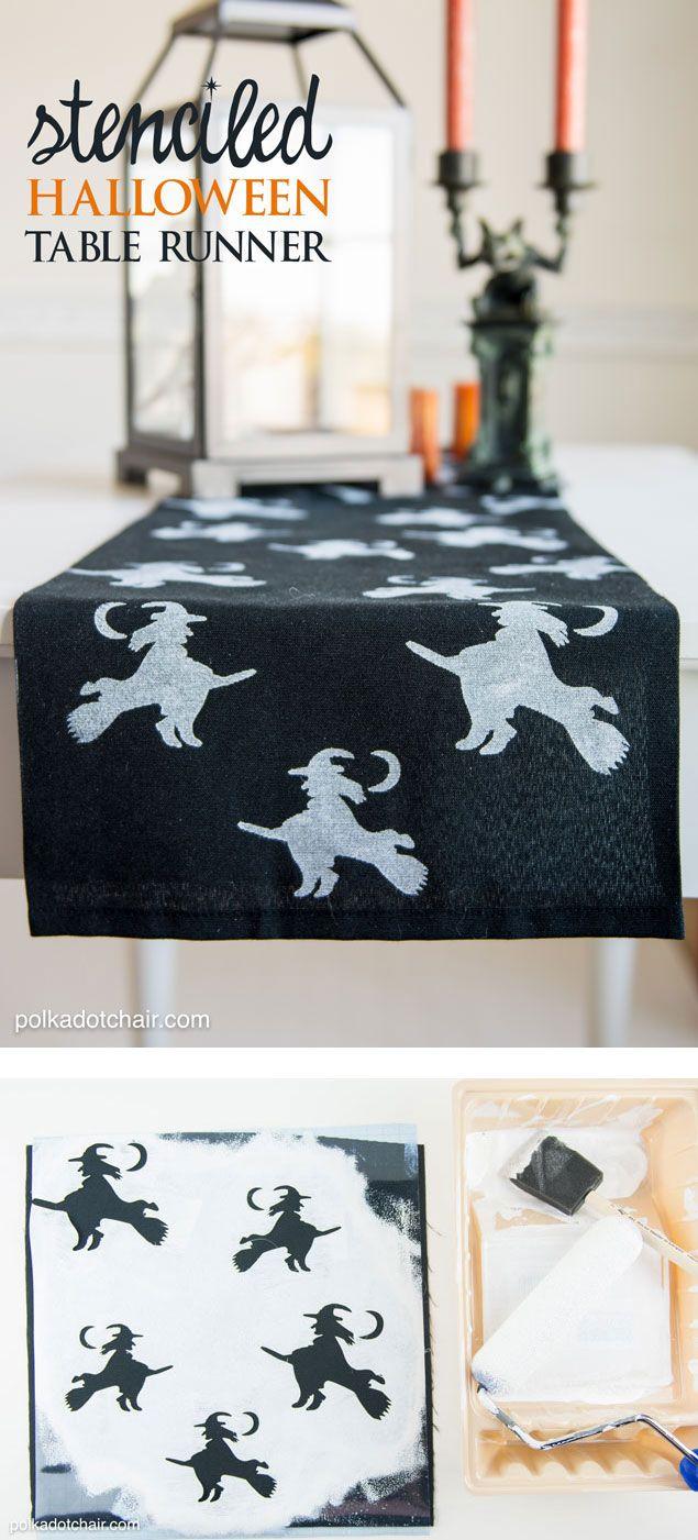 DIY Stenciled Halloween Table Runner, cute idea for Halloween Decor!