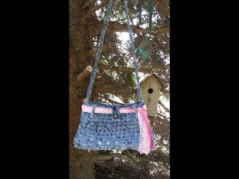 CROCHET How To #Crochet Handbag Purse From Recycled Old Blue Jeans #TUTORIAL #69 LEARN CROCHET - YouTube