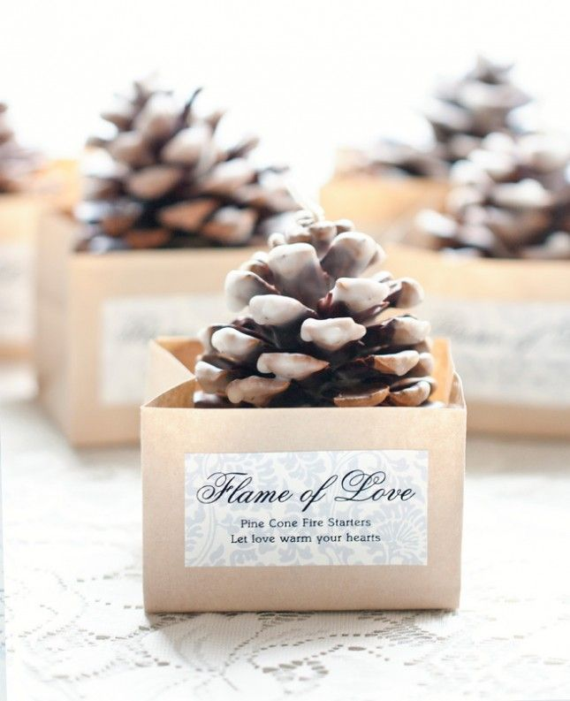 Give your guests handmade pinecone candles.
