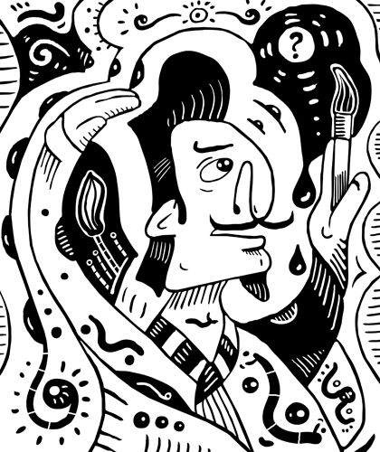#Surrealism style black and white drawing of a #surreal #painter. Surreal painter is thinking what to paint next. Automatic #drawing of a #subconscious world. #Primitive #surrealism