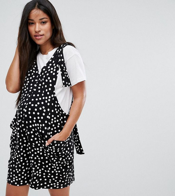 ASOS Maternity Overall Romper with Strapping Detail in Polka Dot - Mul