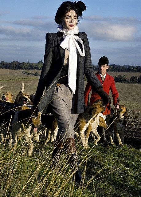 Walking with hounds in a field is so English country...