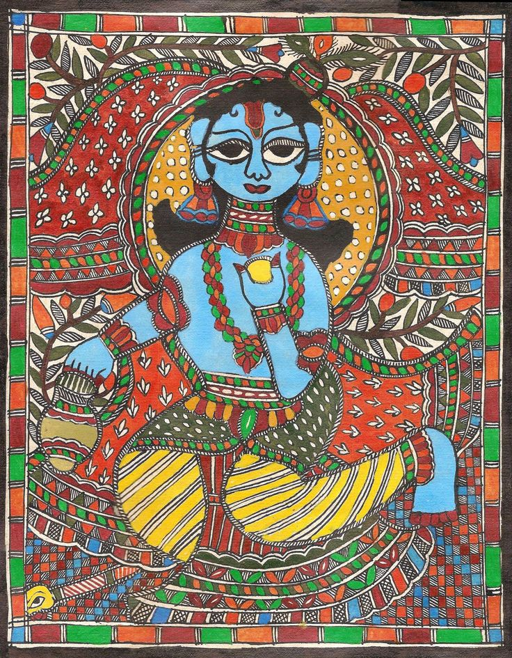 Madhubani Bala Krishna Folk Painting Handmade Indian Tribal Mithila Bihar Art