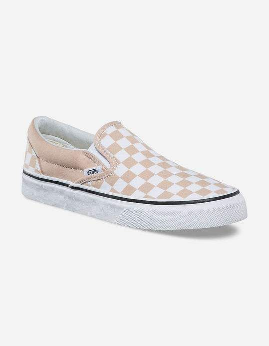 2d57df382b VANS Checkerboard Frappe   True White Womens Slip-On Shoes