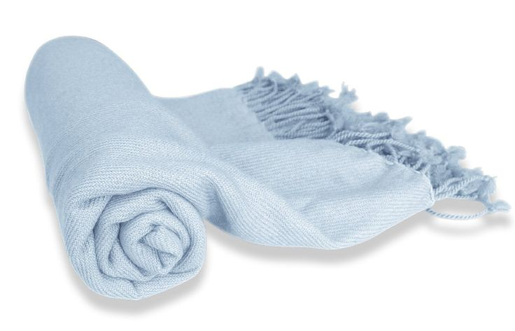 Couture Home Collection Luxuriously Warm and Soft Authentic Cashmere Throw Blanket in Light Blue
