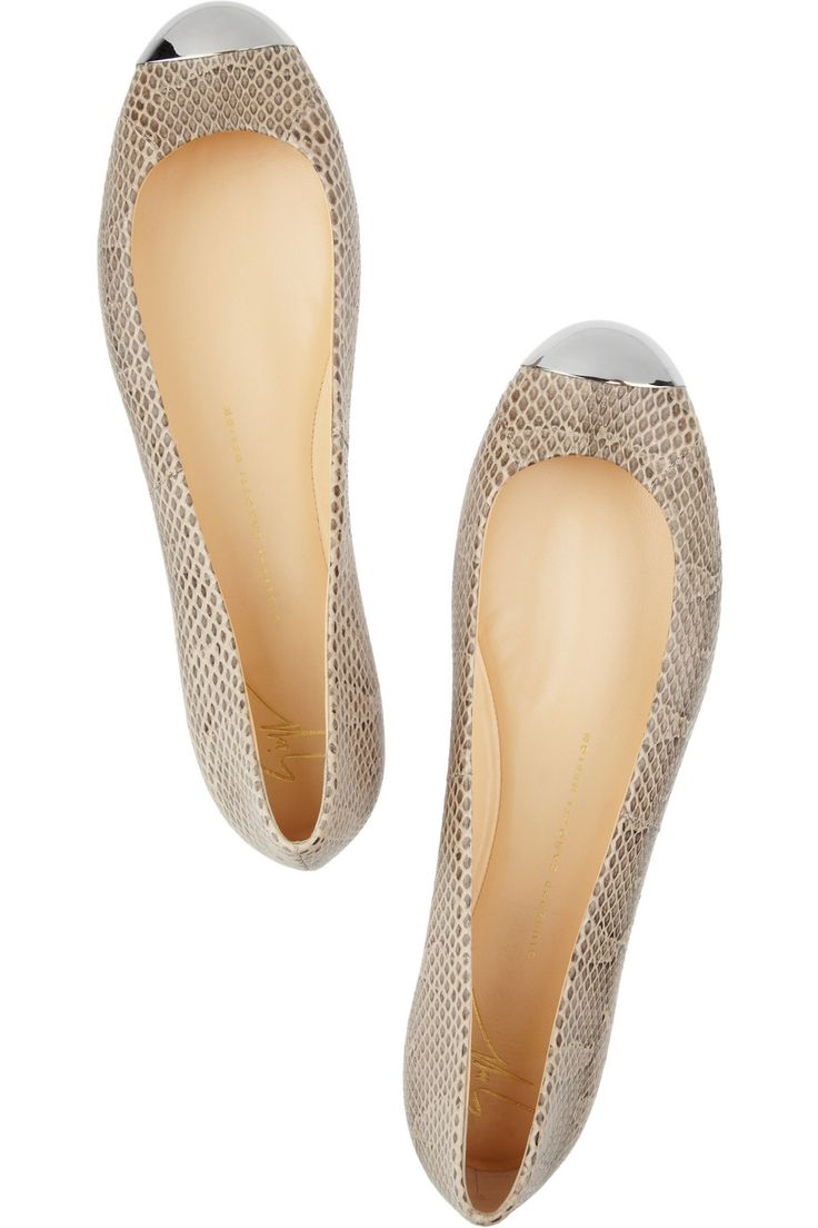 Metal-capped watersnake ballet flats by Giuseppe Zanotti