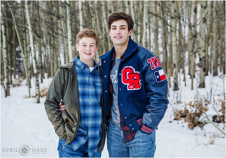 Brothers are photographed with a snowy aspen grove backdrop in the mountains of Colorado during their winter ski trip in Summit County. - April O'Hare Photography http://www.apriloharephotography.com