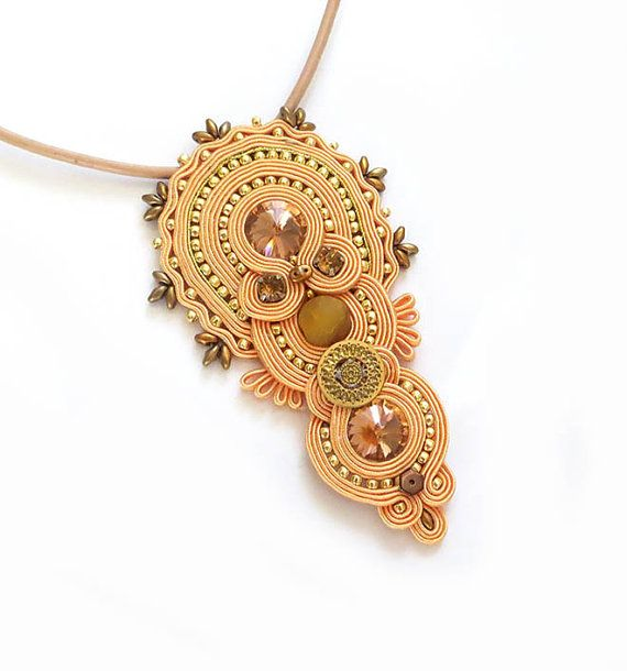 Peach coral old gold necklace soutache OOAK statement by sutaszula
