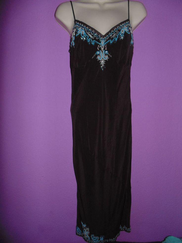 Gorgeous dress brown 100 silk embroided uk 10 by karen millen stuff