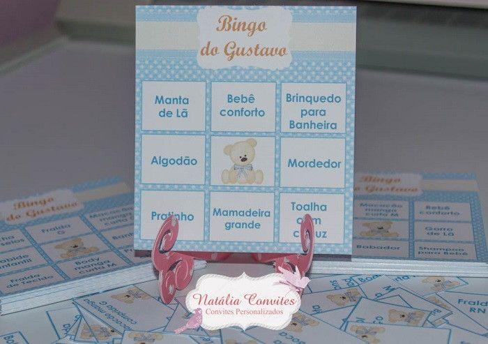 Kit para chá de bebê contém:  Baby Bingo R$ 0,80  Lápis personalizado R$ 1,20  O kit pode ser personalizado de acordo com as cores e temas que desejar.  Pode ser feito para chá de cozinha também.