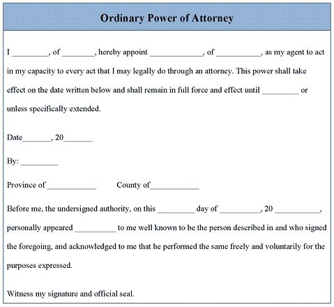 Power Of Attorney Letter  Places To Visit