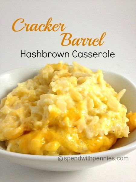 Cracker Barrel Hashbrown Casserole Recipe- Ingredients: 32oz frozen shredded hash browns, 1/2 cup melted butter, 1 (10 1/4 ounce) can of cream of chicken soup, 1 pint of sour cream, 1/2 cup onion finely chopped, 2 cups grated colby cheese, 1/4 teaspoon pepper, Instructions:  Preheat oven to 350. Mix all ingredients together. Place in a greased 9x13 casserole dish. Bake for 45 Minutes.