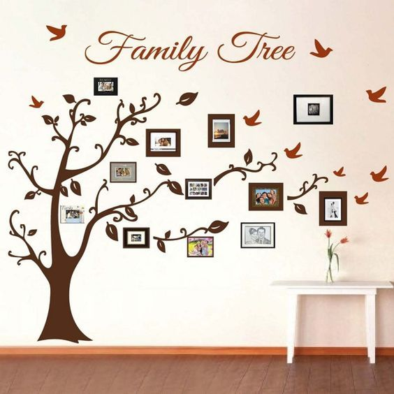 Family Tree Picture Frame Wall Art With Detailed Branches