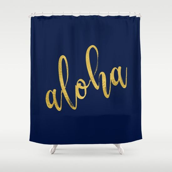 Aloha gold brush script on midnight navy blue glam summer design shower curtain by Ankka