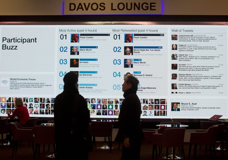 People gather at the 'Davos lounge' inside the Congress Center and follow the latest tweets of participants on the eve of the opening of the 43rd Annual Meeting of the World Economic Forum, WEF, in Davos, Switzerland, Tuesday, Jan. 22, 2013. As corporate leaders gather for the World Economic Forum in Davos amid a slow and shaky recovery, a new study looks at business leaders' moods and what they hope to do this year. Photo: AP Photo/Anja Niedringhaus