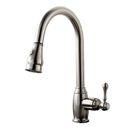 VAPSINT® Contemporary Brushed Steel Single Handle One Hole Stainless Steel Pull Down Pull Out Kitchen Sink Faucet, Brushed Nickel Kitchen Faucets with Sprayer VAPSINT