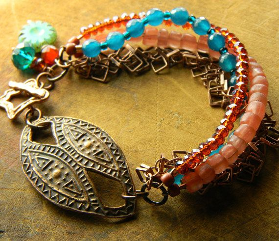 Urban Tribal Bracelet Copper Focal Teal Blue by ChrysalisToo, $72.00