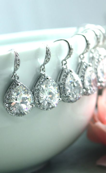 Lux Large Cubic Zirconia White Crystal Wedding Earrings. Bridesmaids Gift Ideas.