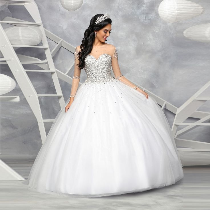 Vestidos De Debutante Gowns Custom Made White Tulle Beading Crystal Long Sleeve Ball Gown Quinceanera DResses Sweet 15 Anos