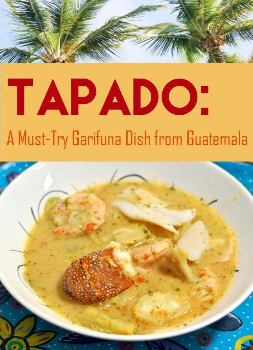 Enjoy a taste of the Caribbean with   Tapado A Guatemalan recipe for Caribbean seafood soup featuring coconut milk, shrimp and spices #Caribbean #Guatemala