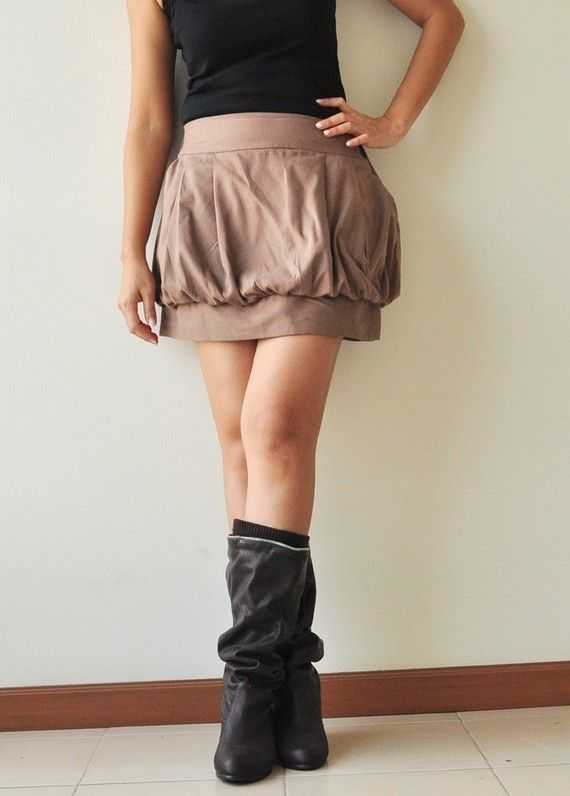 SALE 15% Tulip Brown Cotton Skirt - 3 Sizes Available. $37.50, via Etsy.