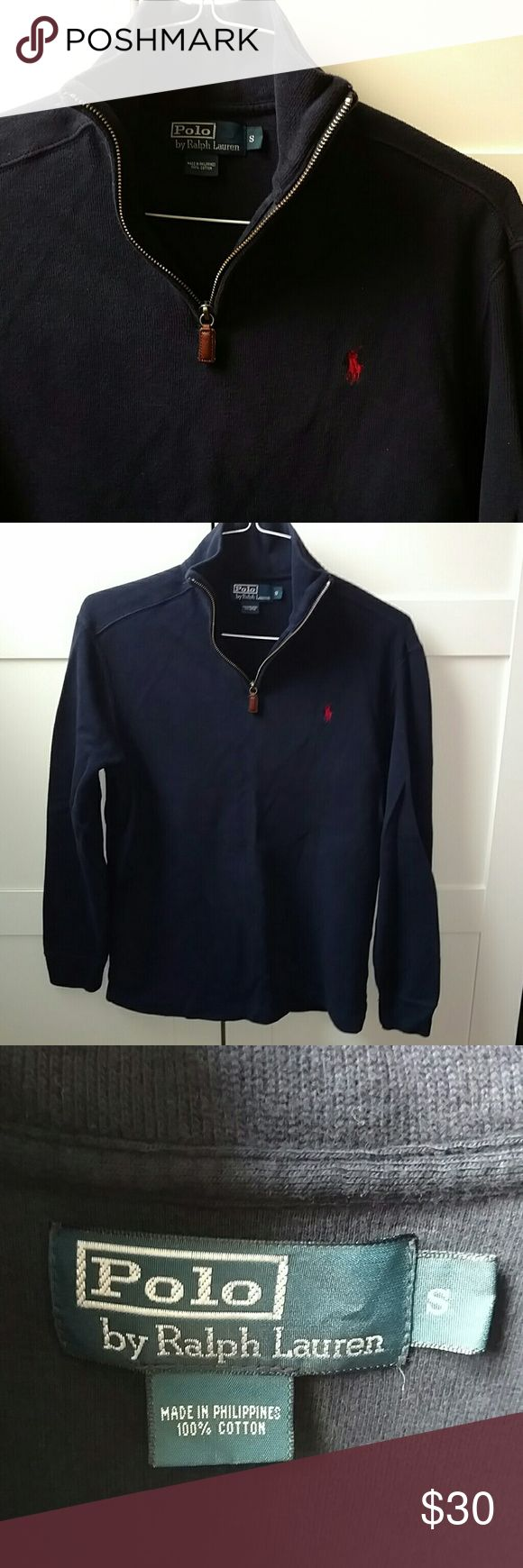 Navy blue cotton half zip sweater by Polo men's S This half zip sweater by Polo by Ralph Lauren is navy blue and 100% cotton.  Men's small Polo by Ralph Lauren Sweaters Zip Up
