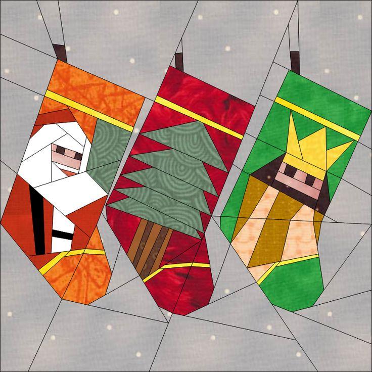 "Christmas Stockings 10"" (25cm) blocks Festive Season quiltartdesigns.blogspot.com"