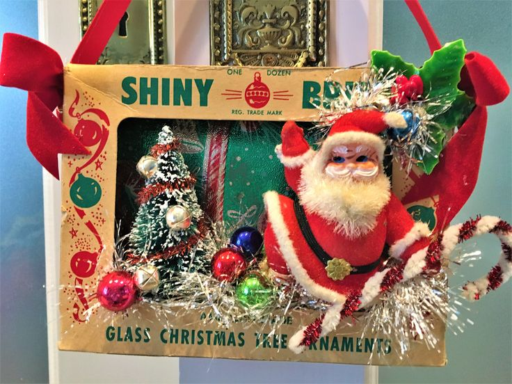 Vintage Christmas Diarama Shiny Brite Ornament Box Bottle brush tree Flocked Santa Wall Hanging Doorknob Hanger by ToBeJolly on Etsy https://www.etsy.com/listing/566245853/vintage-christmas-diarama-shiny-brite