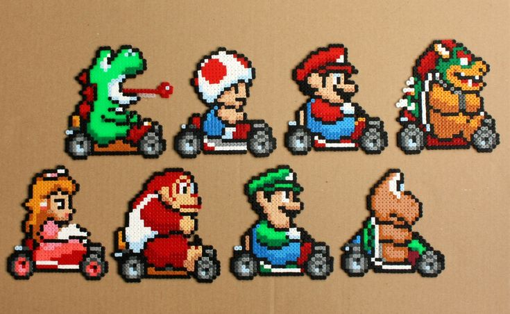 Bead sprites of all the characters from the popular racing game Super Mario Kart for the SNES. A great gift for fans of Mario and Nintendo,