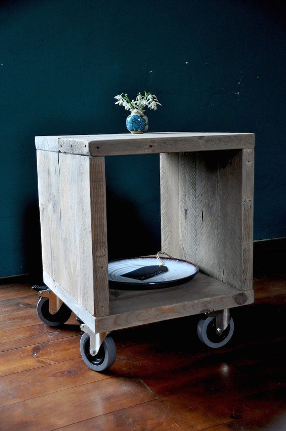Reclaimed wood Bedside Side Table Industrial Rustic