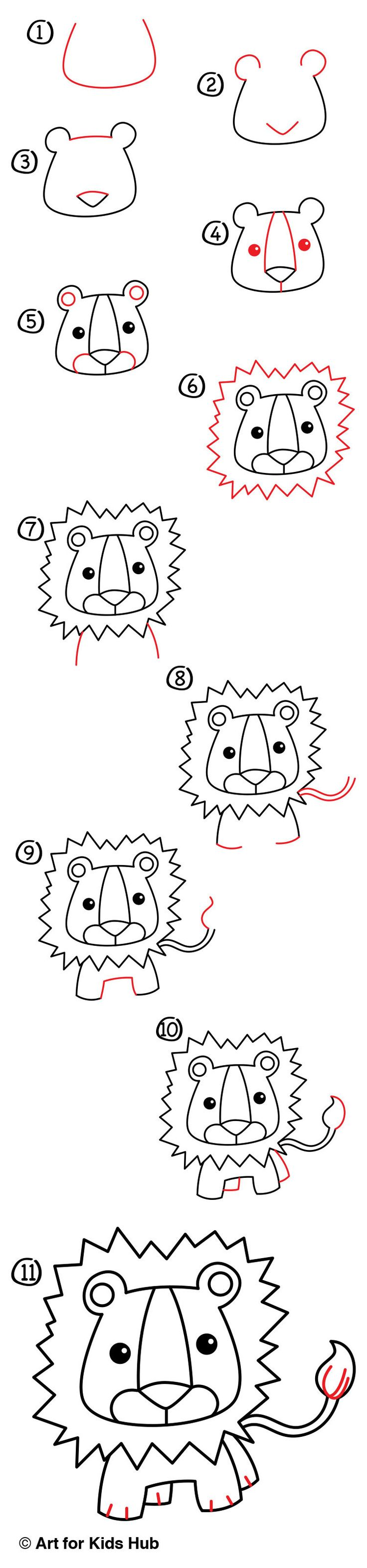 Follow along with us and learn how to draw a cartoon lion! This lesson is perfect for young and old artists alike.