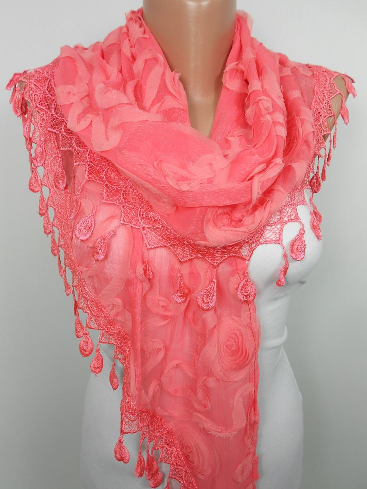 ScarfCluBLace Scarf Shawl Bridal Accessories Coral Wedding Scarf  www.scarfclub.net