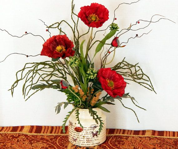84 best silk flower arrangements images on pinterest floral silk floral arrangement dark red poppies greenery grass buds side table mightylinksfo Choice Image