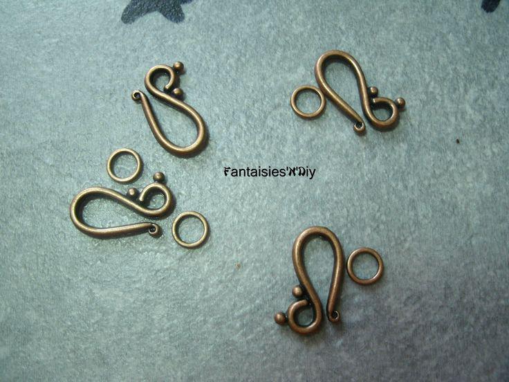 (FRM9) Lot de 4 sets fermoirs toggle crochet métal couleur cuivre rouge vague 21mm : Fermoirs par fantaisies-n-diy