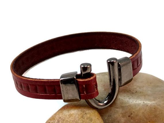 Leather bracelet men bracelet Italian leather mens leather bracelet bordeaux leather bracelet leather jewelry gunmetal U clasp FLB10-19-05