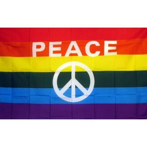 Rainbow Peace Sign Novelty Traditional Flag