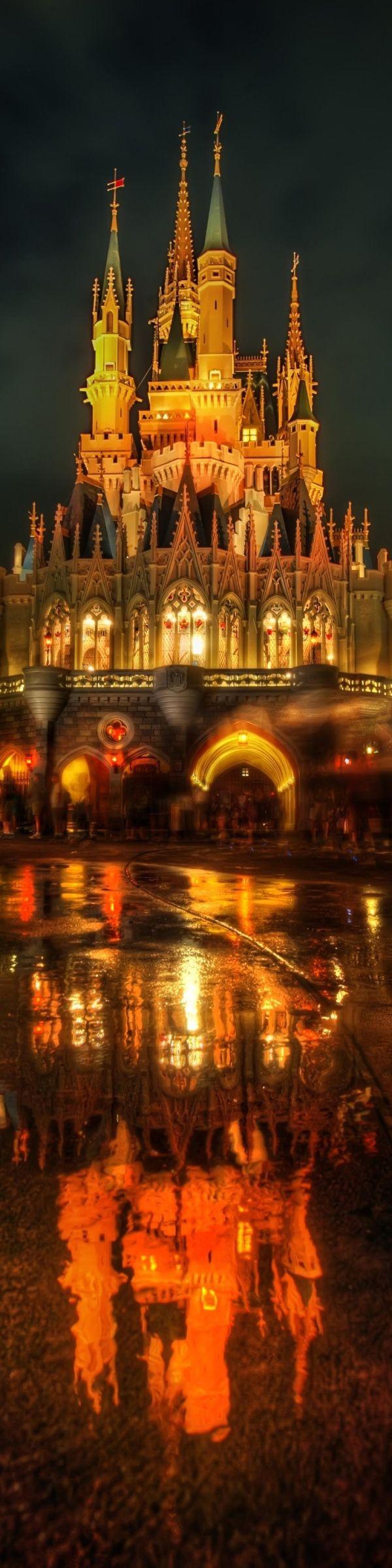 Cinderella Castle reflection at Walt Disney World Resort in Orlando, Florida.