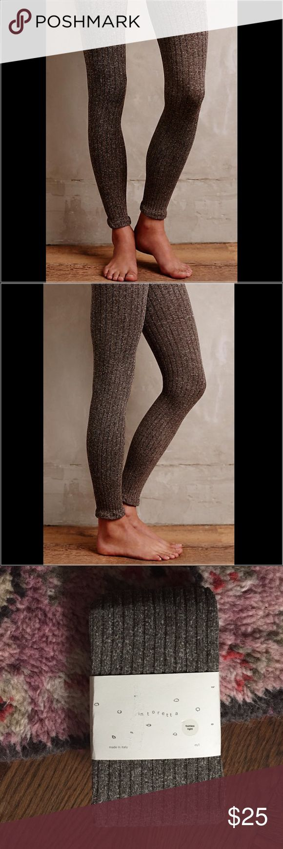 Anthropologie Footless Tights Marled Knit Tights by Tintoretta So soft!  Ribbed nylon-spandex knit Made in Italy Anthropologie Accessories Hosiery & Socks