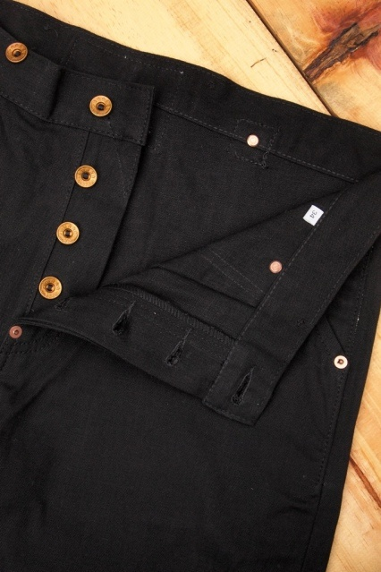 Oldblue Co. Work Pants Type I - Black Selvedge Duck | Buttons Detail.