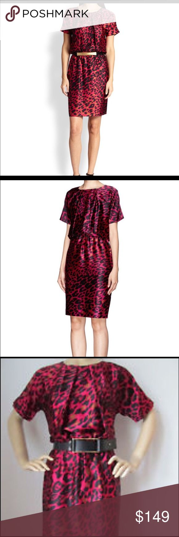 St. John Silk Dress Luxurious and completely gorgeous! LIKE NEW!! Raspberry, black and gold animal print. Silk. Fully lined. St. John Dresses
