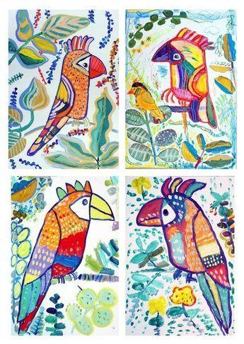 Jungle birds   Painting projects for kids   Tropical bird art   Kids art