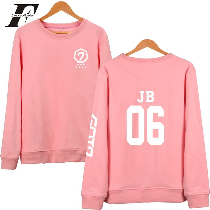 2017 Got7 Kpop printed Hoodie sweatshirt men Women moletom Pullover Pink Sweatshirts Jackson Mark JB JR casaco feminino  Mujer #Affiliate