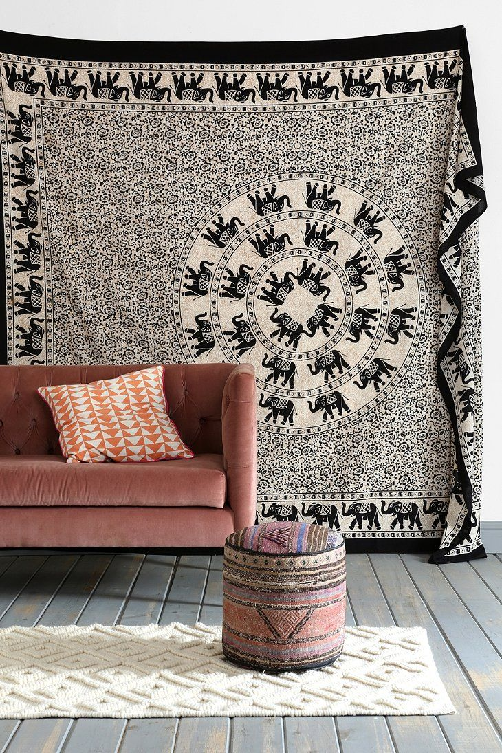 Magical Thinking Elephant Ring Tapestry $44.00 -- Urban Outfitters could work as room divider in a studio apt.