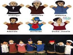Resultado de imagen para titeres de los personajes de la independencia de mexico para recortar